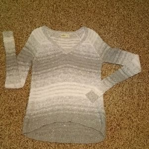 Hollister Silver White Sweater W/ Sparkles Size S